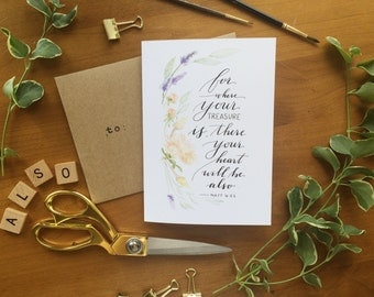 """Set of 8 - Watercolor Floral Notecards - """"For where your treasure is, there your heart will be also"""""""