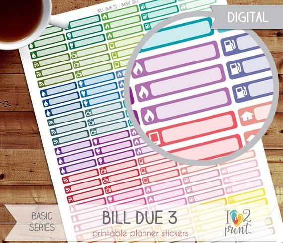 bill due printable planner stickers  erin condren planner