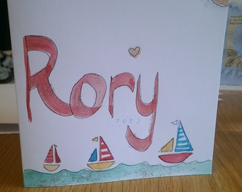 Hand made card for Rory birthday new baby mixed media hand painted new born