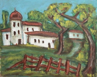 Vintage expressionist oil painting landscape church