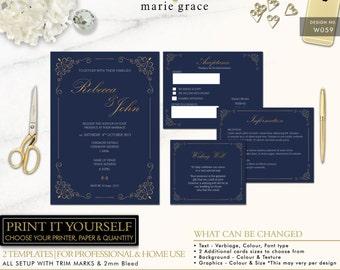 Classic Navy Gold Wedding Invitation Set Template Printable