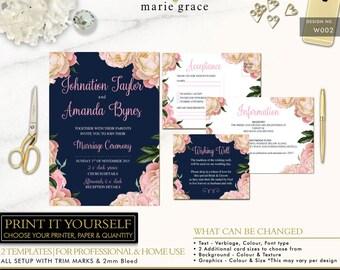 Floral Wedding Invitation Template, Navy Wedding Invitation Printable