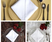 SAVE 15%!!! Modern appeal glass see thru charger plates with beaded rim avail im gold, silver and clean rim