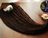 Set of 20 double ended crochet synthetic dreads and braids. Brown dreads.