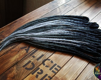 Full set of thin synthetic double ended dreads DE dreadlocks hair extensions custom dreads black gray