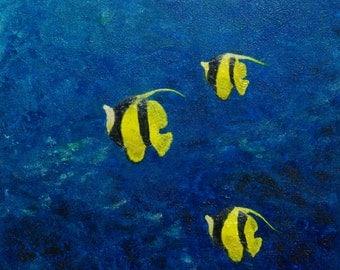 Original painting fish art birthday gift best friend ocean decorations ocean wall decor water art textured art blue picture underwater art