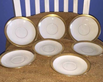 Set of Seven ~ 7 Antique LENOX Ivory Gold Trim Saucers/Plates for Ovington Brothers, New York, NY