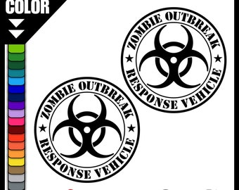 "Zombie Outbreak Response Vehicle 10"" Vinyl Decal - CUSTOM COLOR! - Vinyl Decal - Car Truck Laptop Wall Label Bumper Sticker Walking Dead"