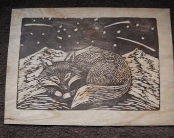 Original Block Print on Wood Veneer - Linocut Wooden Postcard
