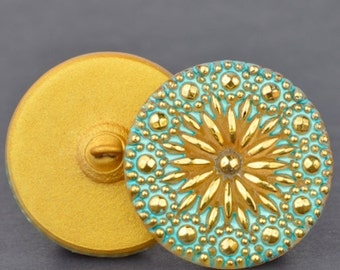 Czech Glass Button - Round North Star Button - Gold with Turquoise Wash and Gold Paint - 27mm Button
