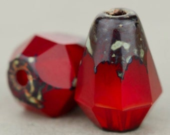 Czech Glass Beads, Bottom Cut Faceted Drop Beads, Red Opaline with Picasso, 8x6mm, 15 Beads