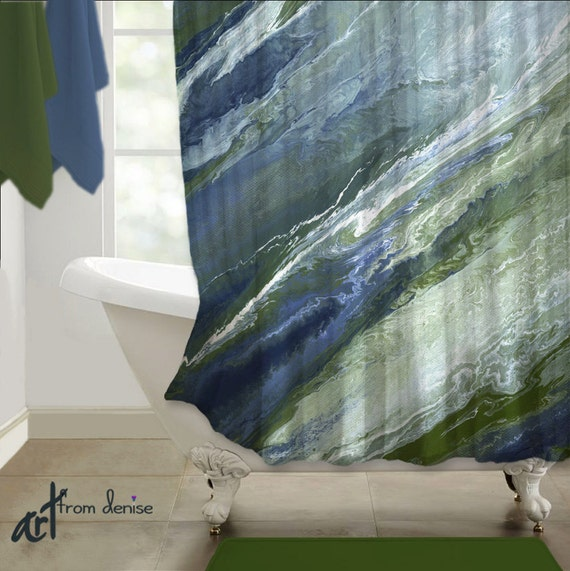 Navy Blue SHOWER CURTAIN Abstract Art Olive Green Sage