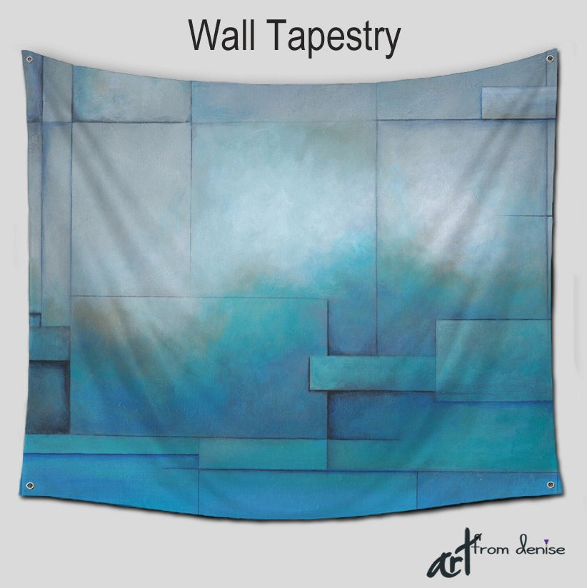 abstract wall tapestries teal blue turquoise gray large wall. Black Bedroom Furniture Sets. Home Design Ideas