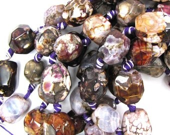 """14-16mm purple agate nugget beads 7"""" strand"""