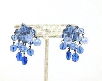 Charming Unique Blue Glass Bead Dangle Silver Tone Vintage Estate Clip Earrings