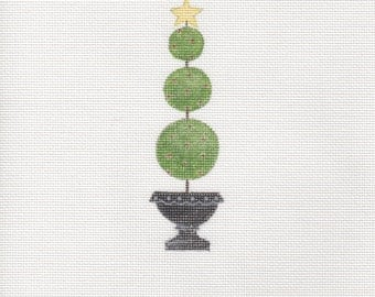 Handpainted needlepoint canvas Christmas Topiary