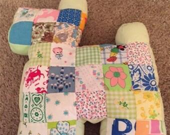 Vintage quilt patches Scottie Dog pillow