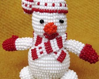 snowman bead snowman figurine bead beaded figurine Christmas ornament Christmas gift beaded toy crochet snowman snowman in a hat bead