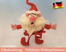 057DE Häkelanleitung - Fröhlicher Weihnachtsmann Pdf Bakaeva Etsy