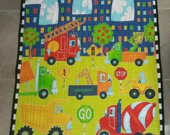 Boy Quilt/Blanket/ Playmat, Truck Quilt, Automotive Quilt, Construction Quilt,