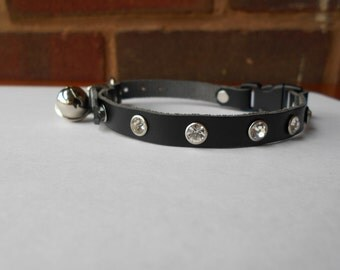 Black Handmade Leather Cat Collar with Bell and Rhinestones
