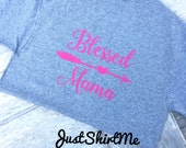 "Short Sleeve ""Blessed Mama/Monogram"" TShirt  - Your Choice of Shirt Size, Shirt Color and Font Color"