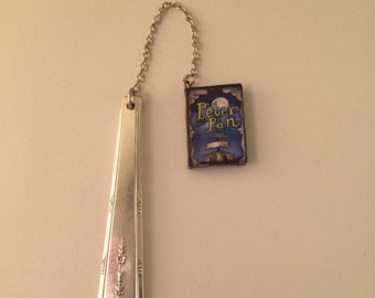 Antique Silver-Plated Spoon Handle Bookmark with Miniature PeterPan Book Charm