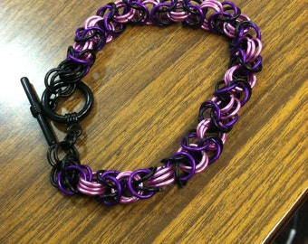 Pink, Purple, and Black Chain Mail Bracelet