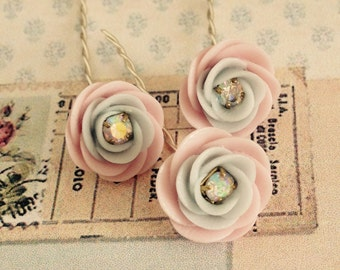 3 tiny light blue and pink handmade porcelain flowers with crystal ab centers 10mm no.1054