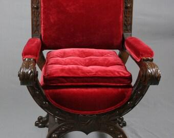 Antique Victorian Gothic Revival Oak Throne