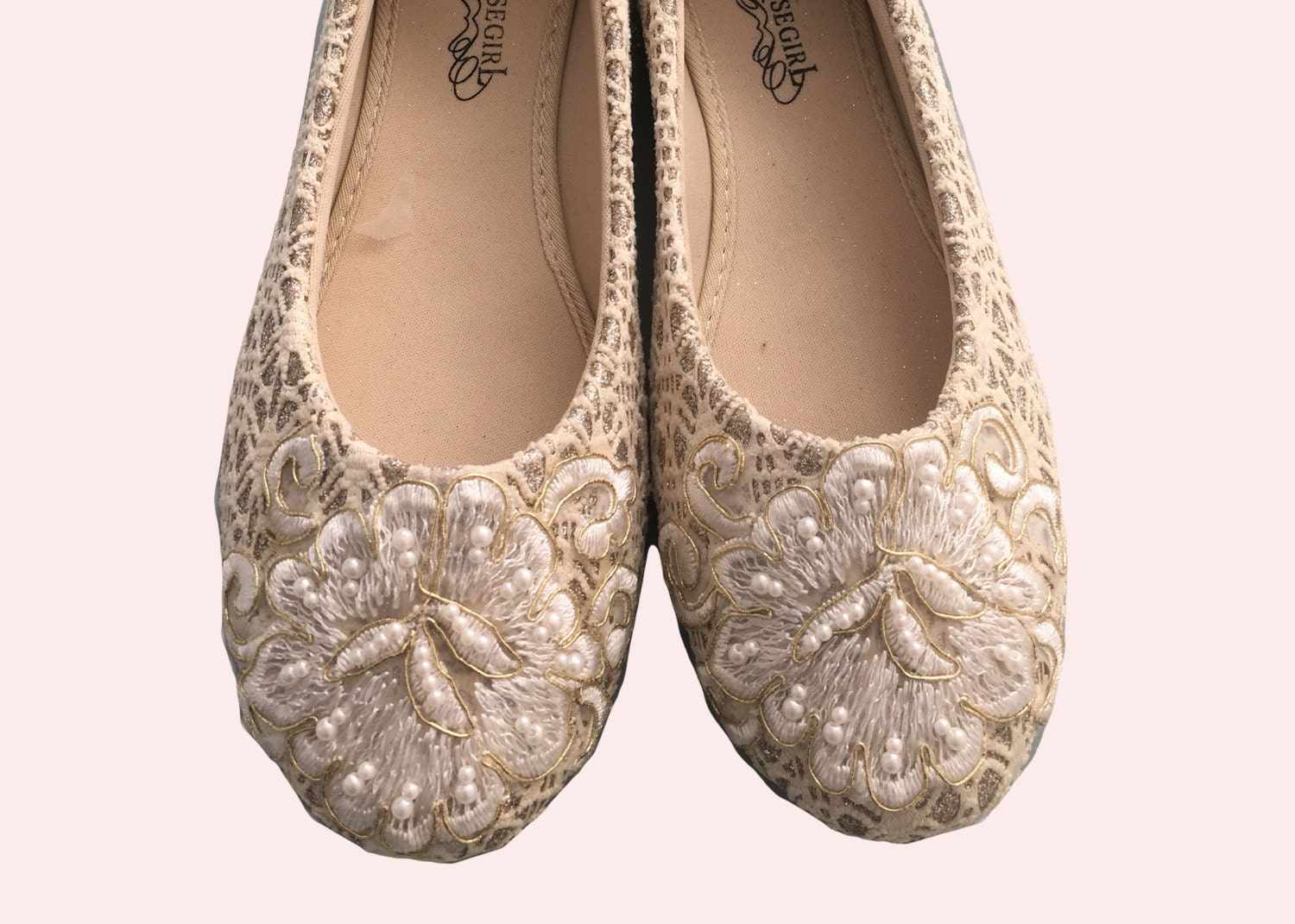 lace bridal bridesmaid dress ballet flats wedding shoes With dress flats for wedding