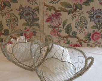 A Pair of Beautiful Heart-shaped Wire Baskets