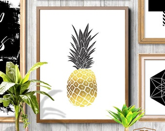 PINEAPPLE, Pineapple Print, Pineapple Art, Pineapple Photo, Pineapple Decal, Affiche Ananas, Gold Pineapple, Ananas, Pineapple Decals