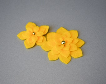 Felt flowers set of 2 flat sew on applique embellishment 3 layers for DIY projects scrapbooking