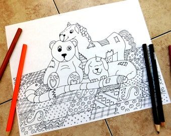 stuffed animals, coloring pages, adult coloring page, teddy bear, patchwork, quilt coloring page, coloring page printable