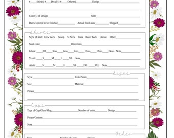 Gerber Daisy Order Form - Vinyl Business - Digital Download SVG and PDF - Custom Order Form for Vinyl Businesses