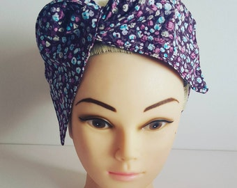 Purple Ditsy Flowers Pin Up Hair Tie