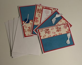 Red, Blue, White Boxed Note Card Set (Set of 4 cards with envelopes)