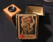 """Vintage WWII Era (1944) Kodachrome Wooden Slide Viewer """"Klevo-Scope"""" Extremely Rare Antique Photography Collectible with Gorgeous Graphics!"""