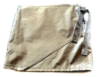 Silver Metallic Wrap Skirt