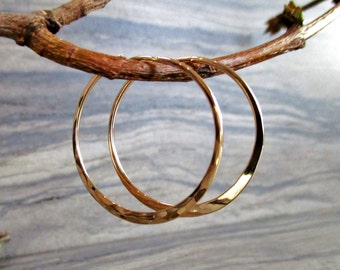 simple modern minimalist handmade hoop earrings gold filled sterling silver