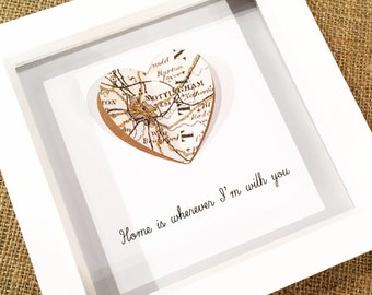 Home is Wherever I'm with you- Personalised Map heart framed picture- Wedding Gift- New Home- Anniversary- Valentines Day gift