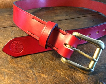"Traditional Handmade Leather Belt SIZE 38"" / Red"
