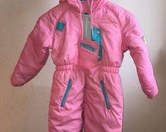 8df354ba2789 Vintage Pink Girls Snowsuit