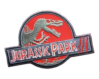 Jurassic Park Patch Embroidered Badge Iron On Sew On Patches