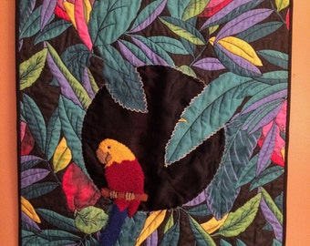 Jungle Parrot Quilted Wall Decor