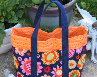 Medium TOTE BAG / Blue Tote Bag / Tote Bag / Floral Tote Bag / Orange Tote Bag / Pocket Tote Bag / Cute Tote Bag / Fabric Tote Bag - Med108