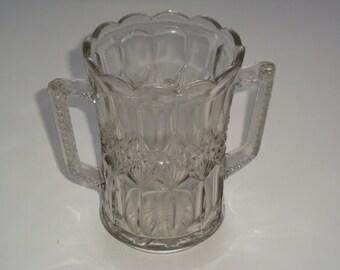 Elegant Early American Pressed Handled Glass Celery Vase / Spooner