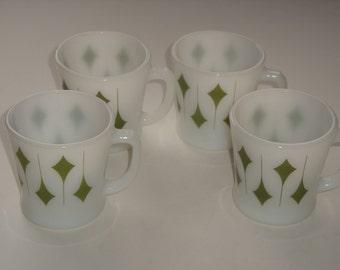 Set of 4 Vintage Milk Glass Geometric Mugs
