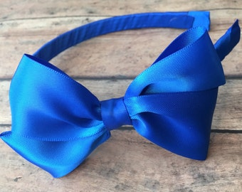 Royal Blue Satin Bow on Hard Headband, Large Blue Bow, Ribbon Wrapped Headband, Royal Blue Headband, Blue Hard Headband